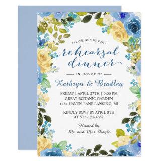 Cartão Jantar de ensaio amarelo azul elegante do jardim