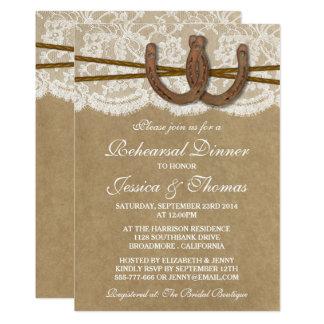 Cartão Jantar de ensaio em ferradura rústico do casamento