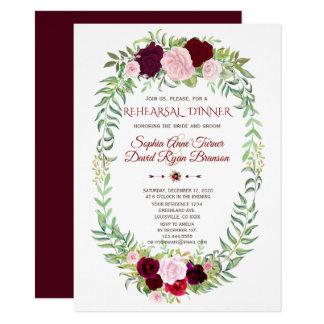 Cartão Jantar de ensaio floral rústico da grinalda de