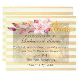 Cartão Jantar de ensaio listrado das flores do chique