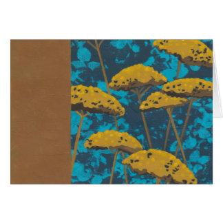 Cartão Jardim do Yarrow dourado com fundo azul