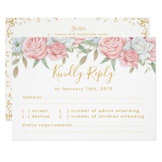 Cartão Jardim floral do ouro cor-de-rosa que Wedding a