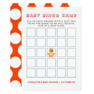 Cartão Jogo amarelo do Bingo do chá de fraldas do