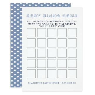 Cartão Jogo azul irrisório do Bingo do chá de fraldas do