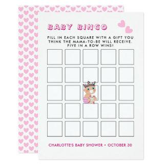 Cartão Jogo cor-de-rosa do Bingo do bebê da princesa chá