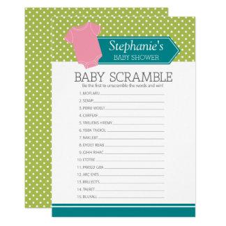 Cartão Jogo do chá da precipitação do bebê - bolinhas