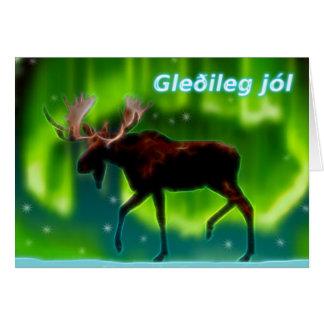 Cartão Jól de Gleðileg - alce da aurora boreal