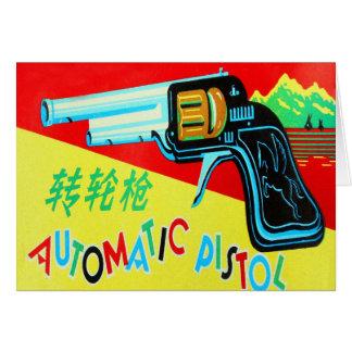 Cartão Kitsch do vintage feito na pistola do brinquedo de