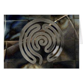 Cartão labyrinth antique antique silver | grunge mosaic