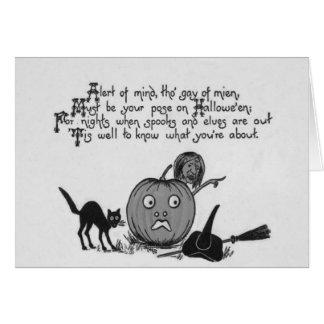 Cartão Lanterna de Jack O do gato preto da bruxa