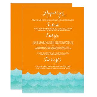 Cartão Laranja no menu náutico do casamento do mar