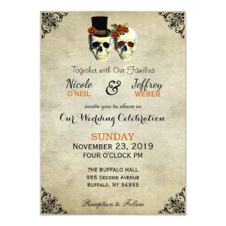 Cartão Laranja rústica do casamento do gótico do crânio