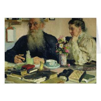 Cartão Léon Tolstói com sua esposa em Yasnaya Polyana
