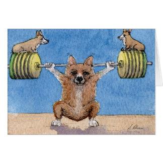 Cartão Levantamento de peso do Corgi de Galês