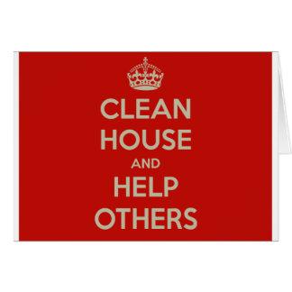 Cartão Limpe a casa e ajude outro