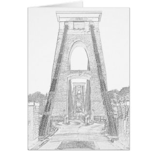 Cartão Linha arte de ponte de suspensão de Clifton,