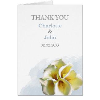 Cartão lírios de calla da aguarela que Wedding o obrigado