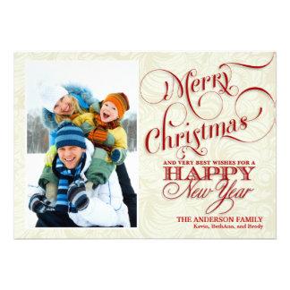 Cartão liso da foto do Natal - vermelho branco