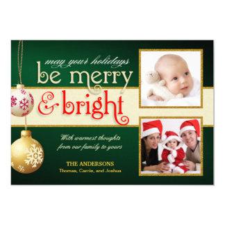 Cartão liso do feriado 2-Photos alegre & brilhante Convite 12.7 X 17.78cm