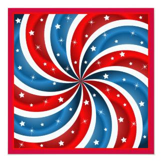 Cartão liso quadrado patriótico convites personalizado