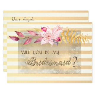 Cartão listrado da dama de honra das flores do