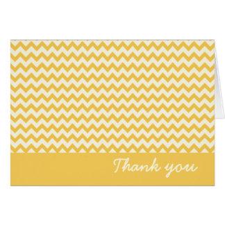 Cartão Listras amarelas chiques de Chevron - obrigado