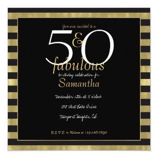 Cartão Listras chiques 50 do ouro e do preto e fabuloso