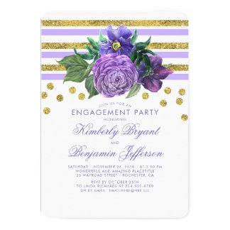 Cartão Listras do ouro e festa de noivado das flores do