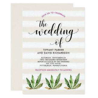 Cartão Listras Glam do deserto do cacto | que Wedding