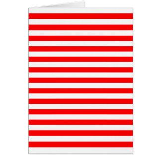 Cartão Listras horizontais vermelhas & brancas