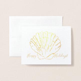 Cartão litoral do feriado de Shell de Scallop do