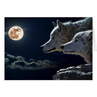 Cartão Lobos brancos na Lua cheia