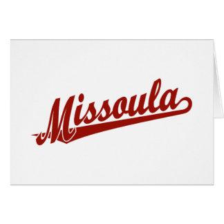 Cartão Logotipo do roteiro de Missoula no vermelho