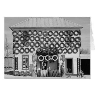 Cartão Loja do pneu do Firestone, 1940