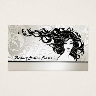 Cartão longo preto do salão de beleza da mulher do