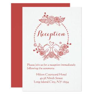 Cartão Lovebirds florais de Borgonha da recepção que