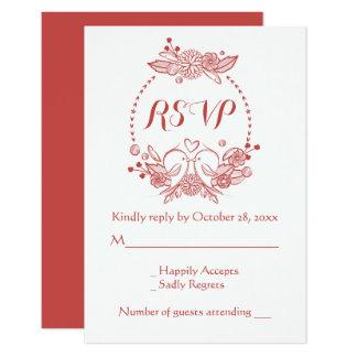 Cartão Lovebirds florais de Borgonha RSVP que Wedding a