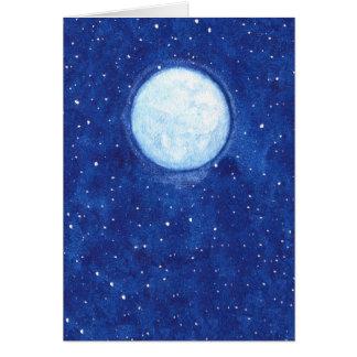 Cartão Lua cheia da aguarela