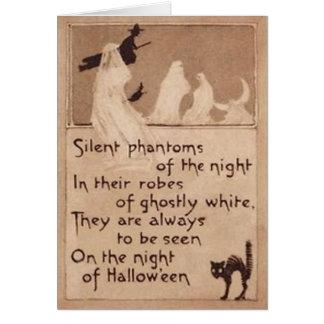 Cartão Lua do crescente do gato preto da bruxa do
