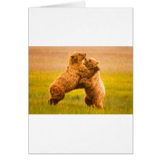Cartão Luta dos ursos de urso