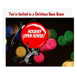 Cartão Luzes de Bokeh do rato do Natal da casa aberta do