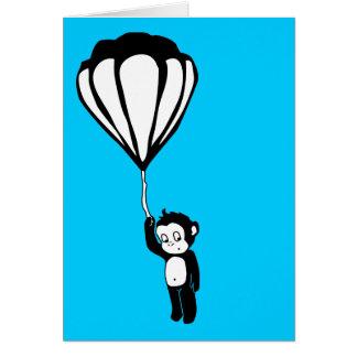 Cartão macaco do vôo: balão de ar quente