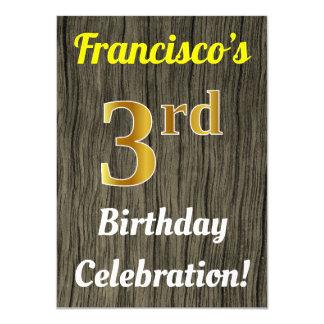 Cartão Madeira do falso, celebração do aniversário de 3