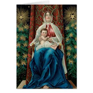 Cartão Madonna do natal vintage e criança