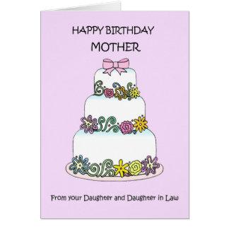 Cartão Mãe do feliz aniversario da filha & da sua esposa