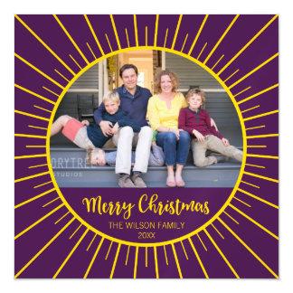 Cartão Magnético Feliz Natal amarelo roxo vibrante de Starburst