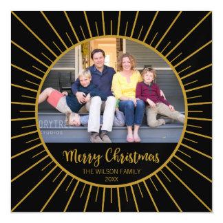 Cartão Magnético Feliz Natal preto elegante de Starburst