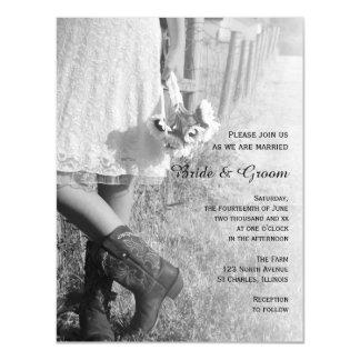 Cartão Magnético Noiva, botas de vaqueiro e casamento do país dos