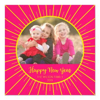 Cartão Magnético O feliz ano novo cor-de-rosa vibrante de Starburst
