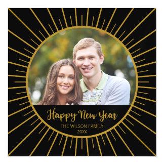 Cartão Magnético O feliz ano novo preto elegante de Starburst